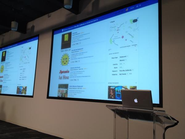 Facebook's Graph Search results are displayed on an overhead projector