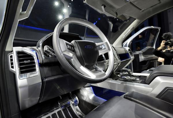The interior of the Ford Motor Co. F-150 Atlas concept truck is seen after the introduction.