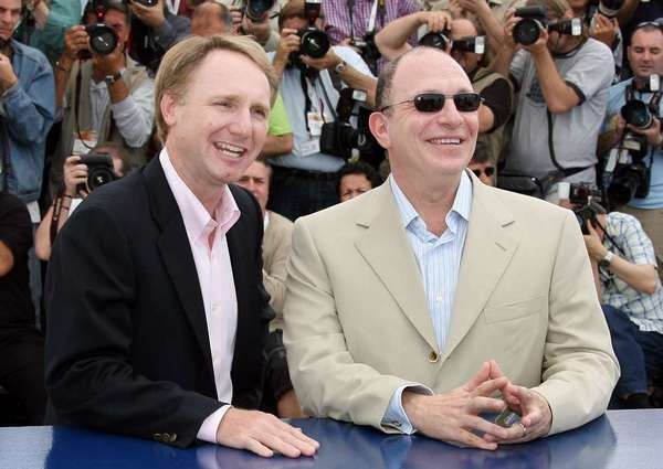 "Bestselling author Dan Brown, left, with screenwriter Akiva Goldsman at the 2006 Cannes Film Festival release of ""The Da Vinci Code."""