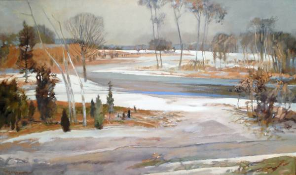 """DECEMBER DAY, GLASTONBURY"" is one of 95 works by the late Paul Zimmerman of Hartford to be sold at auction in Norwich on Saturday."