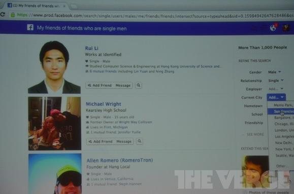Facebook's new Graph Search allows users to search through millions of photos and connections with specific search requests.