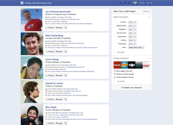An example search using Facebook's Graph Search.
