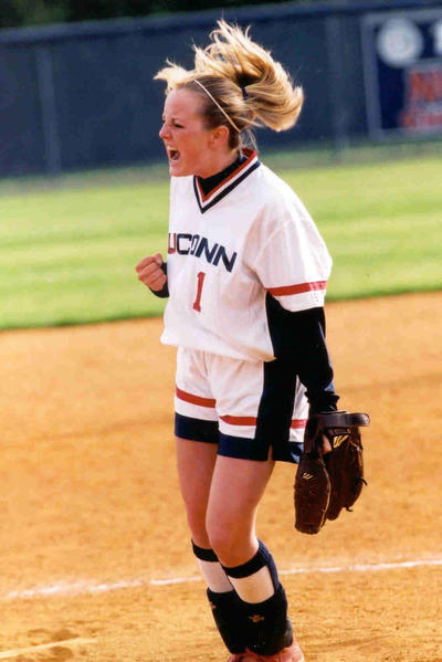 UConn Softball wins their 7th Big East Championship. Barbara Cook celebrates on the mound after a regular season victory.