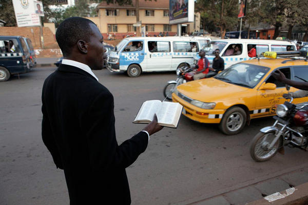 A street preacher in Kampala, Uganda, is pictured in the documentary God Loves Uganda by Easton native Roger Ross Williams.