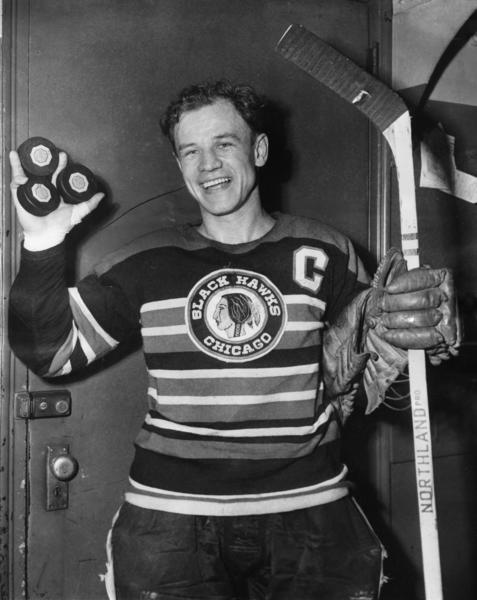 Bill Mosienko, celebrating his hat trick against the New York Rangers. He still holds the record for fastest NHL hat trick in history: 21 seconds.