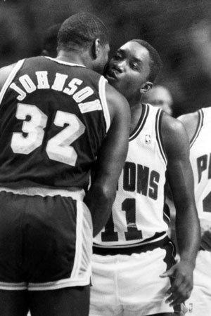 In this June 16, 1988 file photo, Detroit's Isiah Thomas, right, and Magic Johnson exchange their usual pregame kiss, back when they were friends.