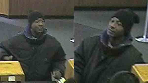 Surveillance photos of a man wanted in connection with the Wednesday robbery of Second Federal Savings in Chicago.