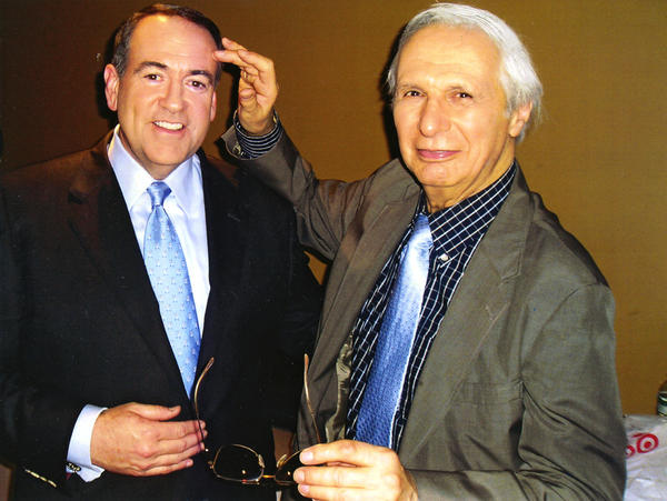 The Amazing Kreskin with Mike Huckabee of Fox News on whose show he has appeared. Kreskin will perform at the State Theatre at 7:30 p.m. Sept. 22.
