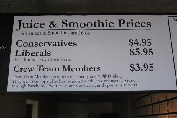 A Utah juice bar owner is charging liberals a dollar more for their drinks.