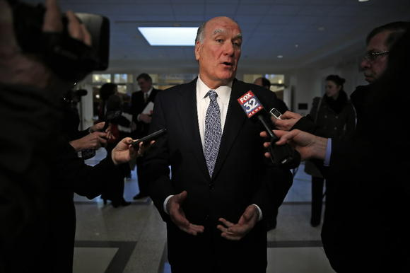 Bill Daley talks after fundraising breakfast