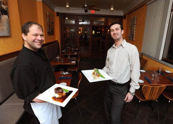 Nathan Roth Executive Chef (left) along with Arti Kamberaj General Manager of River Grille in Easton. The River Grille located on Northampton Street in Easton is celebrating their 10th anniversary.