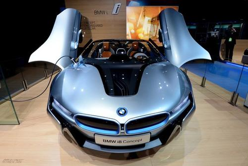 The BMW I8 electric concept on display.