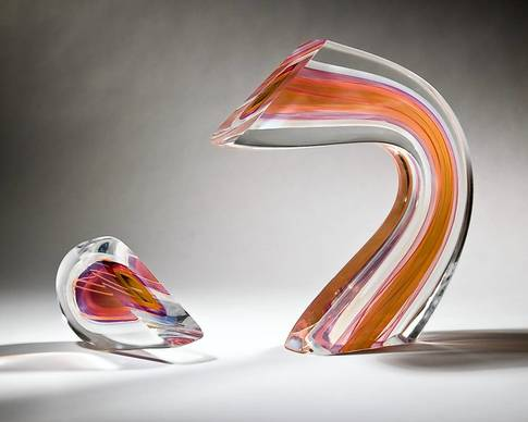 "Harvey Littleton, the 'Father of studio glass,"" created the ""Rose Opal Combination Arc"" in 1989."
