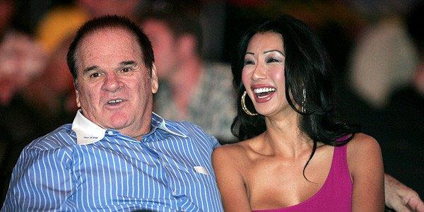 Pete Rose and fiancee Kiana Kim.