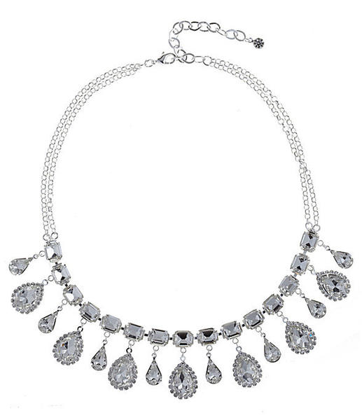 Get Jessica Alba's Harry Winston  look with the Cezanne crystal rhinestone statement necklace from Dillard's for $52.