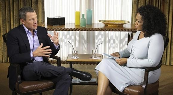 Lance Armstrong taping his interview with Oprah Winfrey.