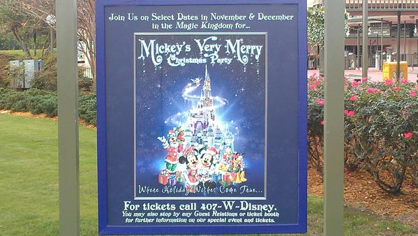 It was odd to see the signs for Mickey's Very Merry Christmas Party still hanging in front of the Magic Kingdom in January.