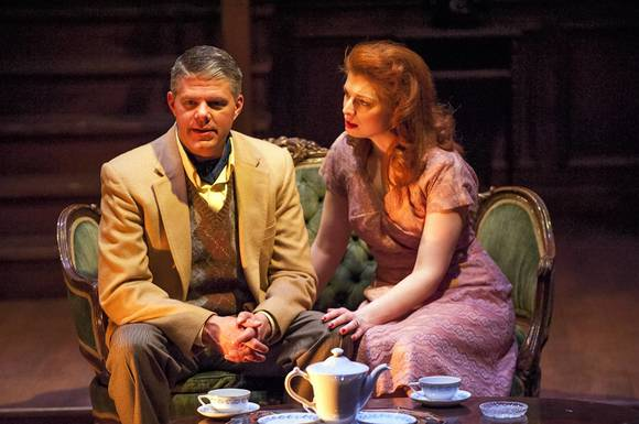 "Paul Dunckel and Darci Nalepa in the Griffin Theatre Co. production of ""Flare Path."""