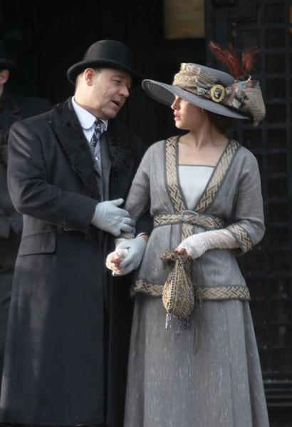 "Russell Crowe and Jessica Brown Findlay filming ""Winter's Tale"" on location in New York City."