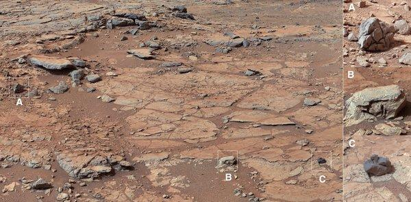 This image released by NASA shows the view of Curiosity's planned first drilling site, known as John Klein, in an area called Yellowknife Bay.