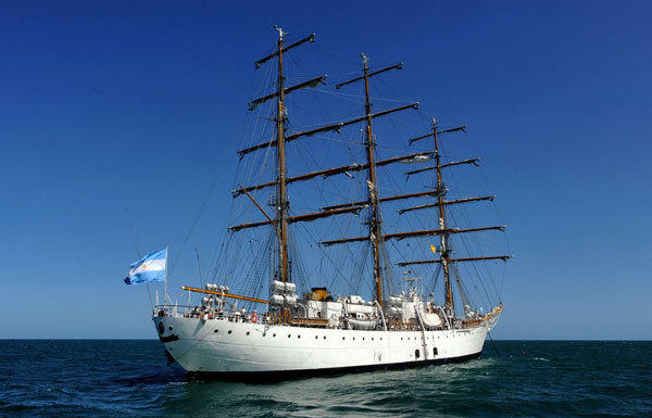 The Argentine ship Libertad heads home after being stuck in Ghana for two months. In October, creditors attempted to seize the ship in order to collect on the country's debts.