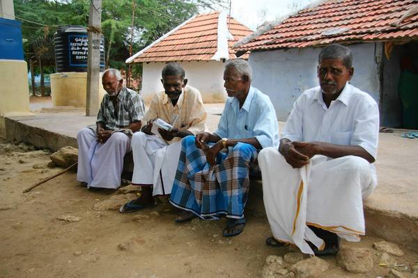 Indian men in the village of Innamrediyarpatti, from left: pipe fitter Ponnusamy, 67; retiree Dhanushkoti, 63; farmer Kalimuthu, 60; and textile mill worker Michael, 62. Even as India debates the morality and legality of euthanasia, three districts in the southern state of Tamil Nadu have been quietly carrying out their own version of it.
