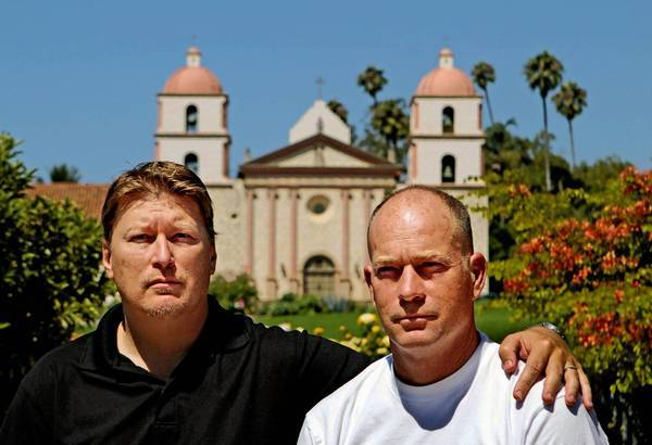 As boys, Damian Eckert, left, and his brother, Bob, shown near the Santa Barbara Mission, were members of the choir led by now-defrocked Father Robert Van Handel at the nearby St. Anthony's Seminary, which closed in 1987. The brothers say Van Handel molested them.
