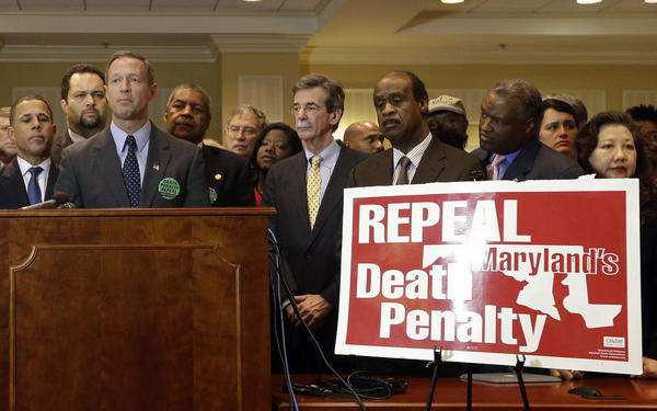 Maryland Gov. Martin O'Malley, center, speaks at a rally in support of repealing the state's death penalty in Annapolis, Md., Tuesday. O'Malley, who said he will be making repeal a priority, argued that the death penalty is a waste of resources that could be better used to fight crime in more productive ways.