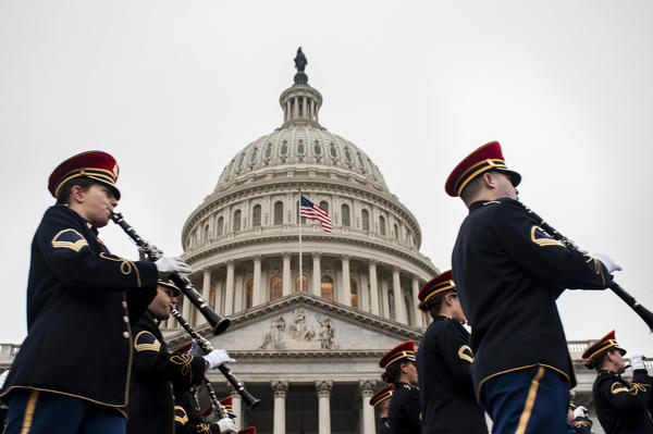 The United States Army Band rehearses for the 2013 presidential inaugural ceremonies in front of the U.S. Capitol in Washington, D.C. President Obama will take the oath of office for another four-year term on Jan. 21.
