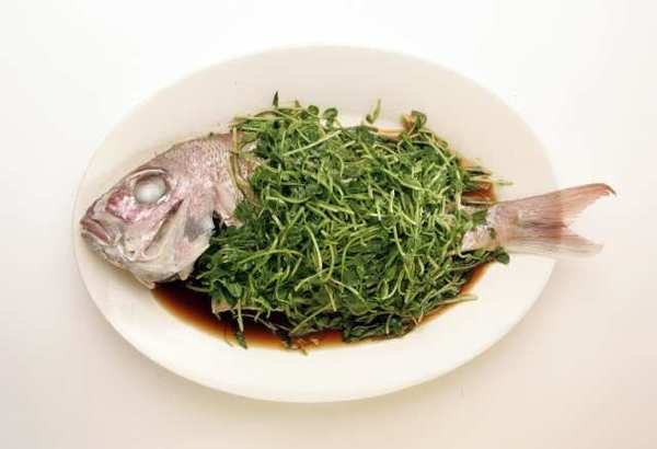 Steamed fish with pea shoots.