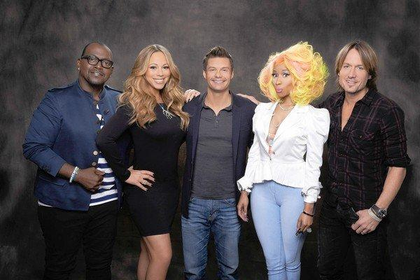 "Randy Jackson, left, Mariah Carey, Ryan Seacrest, Nicki Minaj and Keith Urban of ""American Idol."""