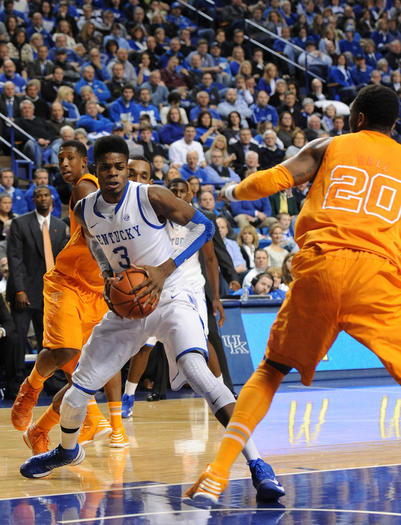 Kentucky freshman Nerlens Noel makes a move to the basket in the Cats¿ win over Tennessee Tuesday night at Rupp¿Arena.