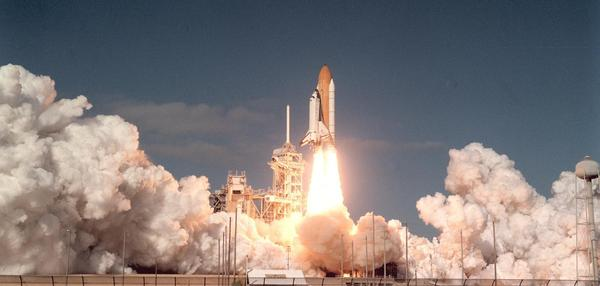 Space shuttle Columbia and its 7-member crew lifts off from Kennedy Space Center on Jan. 16, 2003. The mission would be the shuttle's last as the orbiter disintegrated upon re-entry 16 days later killing all aboard on Feb. 1, 2003.