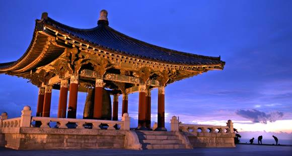 Angels Gate Park features a 17-ton Korean Bell of Friendship housed in a pagoda.