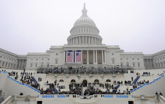 Dress rehearsal for the second inaugural of President Barack Obama at the US Capitol. The official inauguration and swearing-in is January 21, 2013