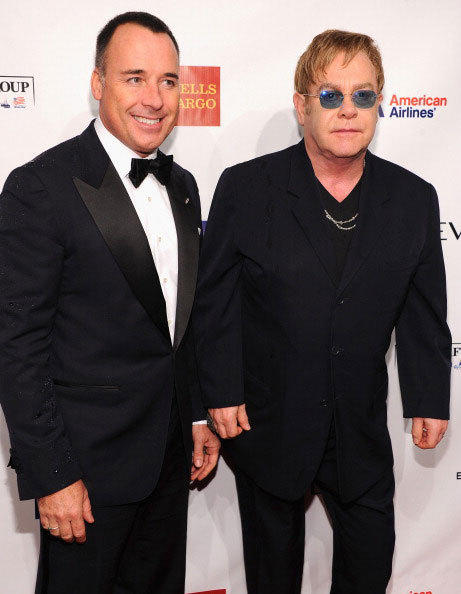 David Furnish and Sir Elton John the Elton John AIDS Foundation's 11th Annual An Enduring Vision Benefit at Cipriani Wall Street on October 15, 2012 in New York City.