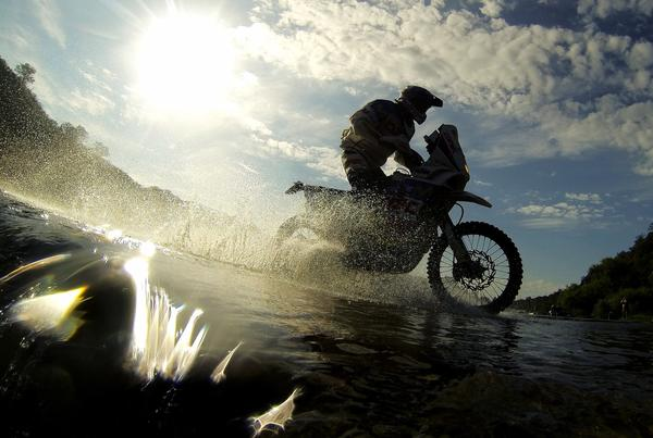 A biker competes during the Stage 10 of the Dakar 2013 between Cordoba and La Rioja, Argentina, on January 15, 2013. The rally takes place in Peru, Argentina and Chile between January 5 and 20.