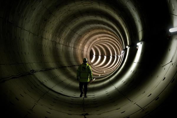 A worker stands in the tunnel of the North-South subway line in Amsterdam on January 16, 2013. The new 'Line 52' was due for completion by 2012, but the project was reportedly delayed because of financial and structural reasons. Completion of Line 52 is now scheduled for 2017. The line will offer more direct journey possibilities as well as connections with Amsterdam Central Station.