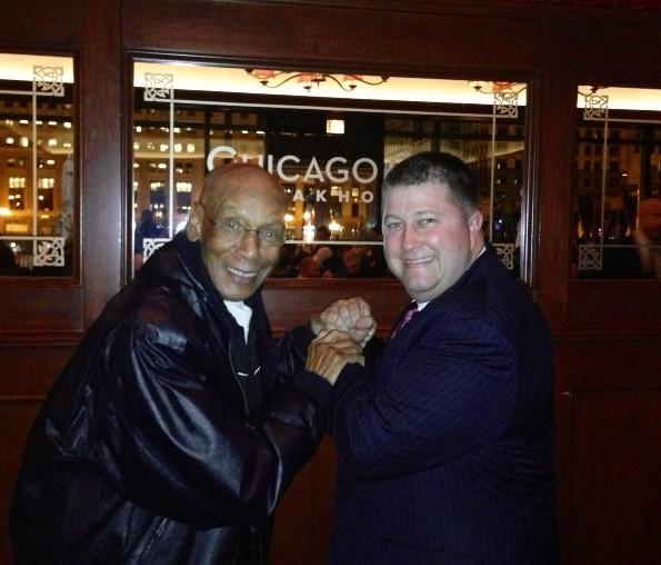 Cubs legend Ernie Banks (left) at Chicago Cut Steakhouse with co-owner David Flom Jan. 9, 2013.