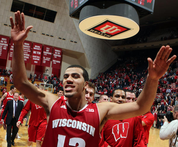 Wisconsin Badgers guard Traevon Jackson celebrates the victory over the Indiana Hoosiers at Assembly Hall in Bloomington, Ind. Wisconsin defeats Indiana 64-59.