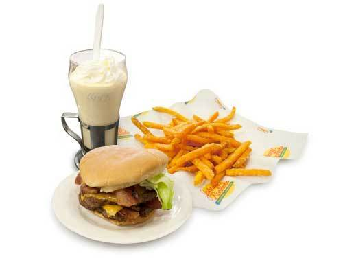 Johnny Rockets' Bacon Cheddar Double, Sweet Potato Fries and Big Apple Shake total 3,500 calories, according to Center for Science in the Public Interest.