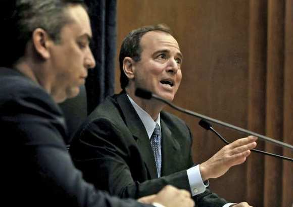 Rep. Adam Schiff, right, in an election debate at the Burbank City Hall, Oct.15, 2012.