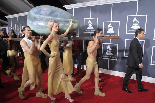 Lady Gaga arrives enclosed in an egg at the 53rd Annual Grammy Awards on Feb. 13, 2011, at Staples Center in Los Angeles.