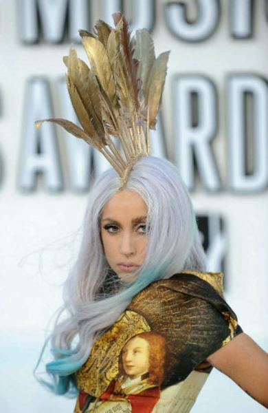 Lady Gaga arrives at the MTV Video Music Awards on Sept. 12, 2010, at the Nokia Theatre in Los Angeles.