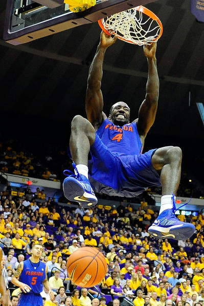 Patric Young #4 of the Florida Gators scores against the LSU Tigers during a game at the Pete Maravich Assembly Center on January 12, 2013 in Baton Rouge, Louisiana. Florida won the game 74-52.