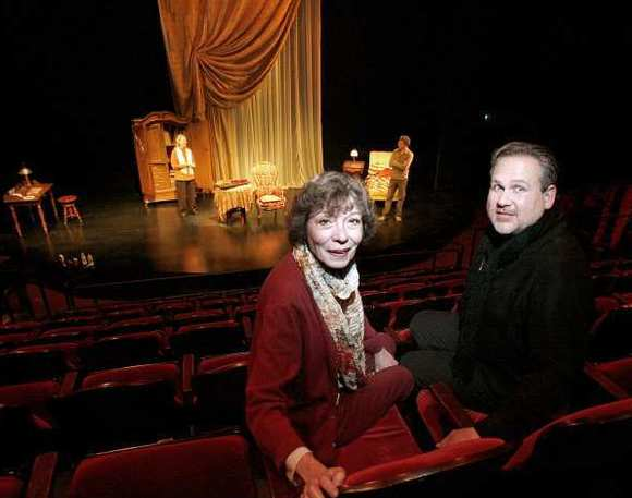 "Burbank's Colony Theater's artistic director Barbara Beckley, left, and executive director Trent Steelman, right, inside the theater during rehearsal of ""The Morini Strad"" in Burbank on Wednesday, Dec. 5, 2012."