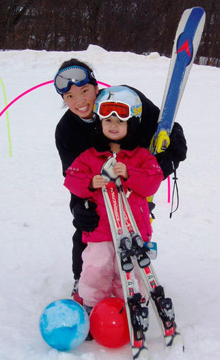 A mom and daughter know it's never too early to learn to ski.