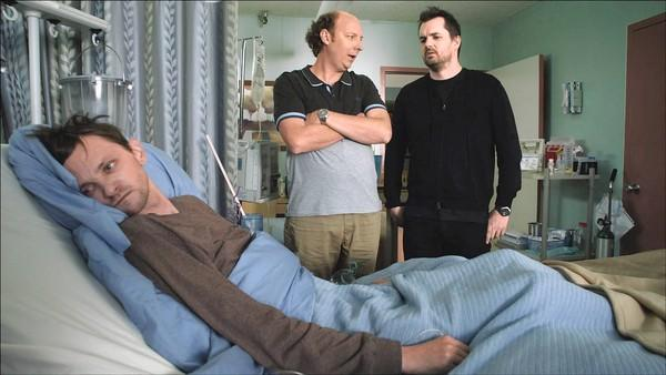 "D.J. Qualls, left, Dan Bakkedahl and Jim Jefferies in FX's ""Legit."""