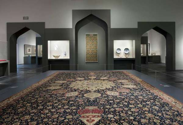 "A gallery at LACMA's 2011 exhibition ""Gifts of the Sultans."""