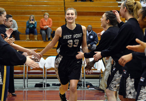 Army's Aimee Oertner (33) runs pass her teammates before a women's basketball game against Lafayette held at by Kirby Sports Center on Wednesday. Aimee Oertner is from Slatington, Pa. and is a graduate from Northern Lehigh High School.